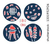 barbecue round compositions... | Shutterstock .eps vector #1331952926