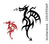 set dragon tattoo or emblem... | Shutterstock . vector #1331955569