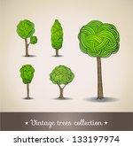 hand drawn trees. vector... | Shutterstock .eps vector #133197974