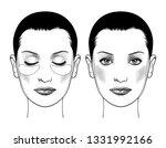 spa woman applying facial clay...   Shutterstock . vector #1331992166
