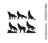 set of wolf icons on a white... | Shutterstock .eps vector #1332007886