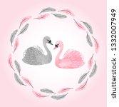 watercolor swans vector... | Shutterstock .eps vector #1332007949
