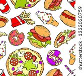 cartoon food print. seamless... | Shutterstock .eps vector #1332020759