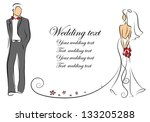 silhouette of bride and groom ... | Shutterstock .eps vector #133205288