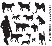 Stock vector various dogs in black and white silhouettes 133207154