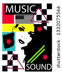 music sound pop art colorful... | Shutterstock .eps vector #1332075566