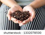 handful of fresh organic coffee ... | Shutterstock . vector #1332078530