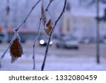 tree branches in hoarfrost.... | Shutterstock . vector #1332080459