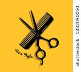 scissors with comb on yellow... | Shutterstock .eps vector #1332090050