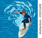surfer riding a big wave. water ... | Shutterstock .eps vector #133211630