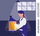 mechanic worker with oil gallon | Shutterstock .eps vector #1332125330