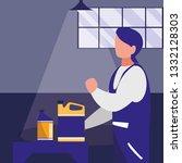 mechanic worker with oil gallon | Shutterstock .eps vector #1332128303