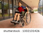 front view of happy mixed race...   Shutterstock . vector #1332131426