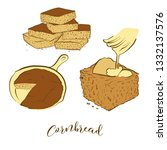 Stock vector colored sketches of cornbread bread vector drawing of cornbread food usually known in america 1332137576
