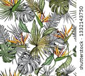 seamless pattern with monstera... | Shutterstock .eps vector #1332143750