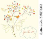 Banner with flowers and bird and place for your text in vector. Invitation card.