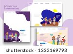 set of landing page design... | Shutterstock .eps vector #1332169793