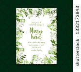 eucalyptus wedding invitation... | Shutterstock .eps vector #1332173843