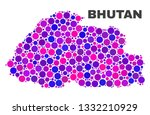 mosaic bhutan map isolated on a ... | Shutterstock .eps vector #1332210929