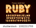 golden 3d font with gems  gold... | Shutterstock .eps vector #1332211703