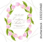 floral wedding invitation with... | Shutterstock .eps vector #1332214460