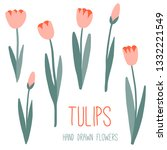pink tulips set. spring or... | Shutterstock .eps vector #1332221549