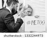 Small photo of metoo as a new movement. Mad at colleague. Me too social movement. Office woman and her lustful boss