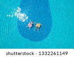 drone view of young couple... | Shutterstock . vector #1332261149