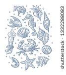 set sea animal. shell ... | Shutterstock .eps vector #1332288083