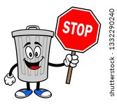 trash can mascot with a stop... | Shutterstock .eps vector #1332290240