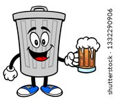 trash can mascot with a beer  ... | Shutterstock .eps vector #1332290906
