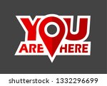 red vector pin point you are... | Shutterstock .eps vector #1332296699