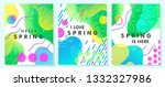 set of unique spring cards with ... | Shutterstock .eps vector #1332327986