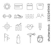 set of simple line style icons...
