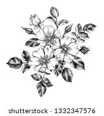 hand drawn floral bunch with... | Shutterstock . vector #1332347576