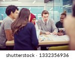 multiethnic startup business... | Shutterstock . vector #1332356936