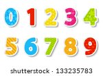 Set Of Color Paper Numbers