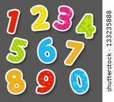 set of color paper numbers | Shutterstock .eps vector #133235888