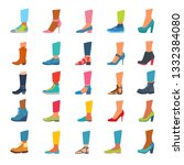 set of icons of different shoes ... | Shutterstock .eps vector #1332384080