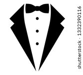 Symbol service dinner jacket bow Tuxedo concept Tux sign Butler gentleman idea Waiter suit icon black color vector illustration flat style simple image