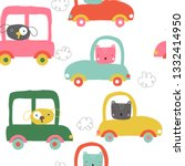 funny animals in cars seamless... | Shutterstock .eps vector #1332414950