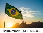 Brazilian Flag Waving Backlit...