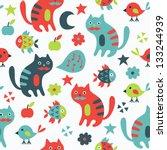 cat seamless pattern | Shutterstock .eps vector #133244939