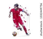 soccer player in red jersey... | Shutterstock .eps vector #1332449756