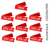 set of red sale ribbons with...   Shutterstock . vector #1332461900