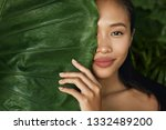 beauty face. woman model with... | Shutterstock . vector #1332489200