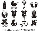set of twelve black and white... | Shutterstock .eps vector #133252928