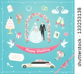 wedding icons set | Shutterstock .eps vector #133253138