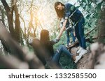 helping friend group of young... | Shutterstock . vector #1332585500