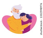 young woman hug her old... | Shutterstock .eps vector #1332598976